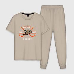 Пижама хлопковая мужская Ducks: Est.1993 цвета миндальный — фото 1