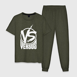 Пижама хлопковая мужская Versus Battle цвета меланж-хаки — фото 1