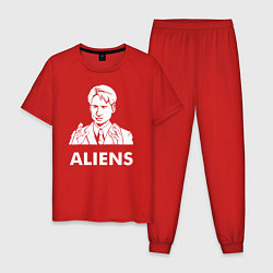 Пижама хлопковая мужская Mulder Aliens цвета красный — фото 1