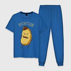 Пижама хлопковая мужская Potatson цвета синий — фото 1