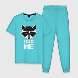Пижама хлопковая мужская Raccoon: Hug me цвета бирюзовый — фото 1