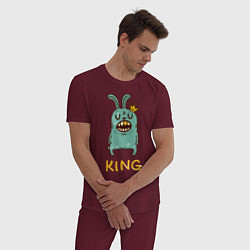 Пижама хлопковая мужская Rabbit King цвета меланж-бордовый — фото 2