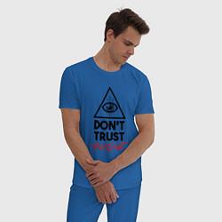 Пижама хлопковая мужская Dont trust anyone цвета синий — фото 2