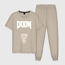 Пижама хлопковая мужская DOOM: Years цвета миндальный — фото 1