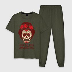 Пижама хлопковая мужская День мертвецов цвета меланж-хаки — фото 1