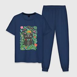 Пижама хлопковая мужская Киса в цветах цвета тёмно-синий — фото 1