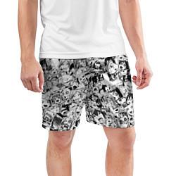 Шорты спортивные мужские Ahegao: Black & White цвета 3D-принт — фото 2