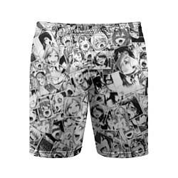 Шорты спортивные мужские Ahegao: Black & White цвета 3D — фото 1