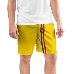 Шорты спортивные мужские Молдавия: лента с гербом цвета 3D — фото 2