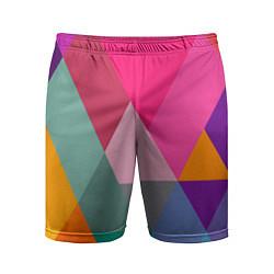 Шорты спортивные мужские Разноцветные полигоны цвета 3D — фото 1