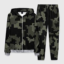 Костюм мужской Камуфляж пиксельный: черный/серый цвета 3D-меланж — фото 1