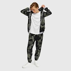 Костюм мужской Камуфляж пиксельный: черный/серый цвета 3D-меланж — фото 2