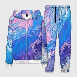 Костюм мужской Tie-Dye Blue & Violet цвета 3D-белый — фото 1