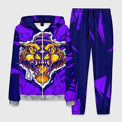 Костюм мужской Граффити Лев фиолетовый цвета 3D-меланж — фото 1