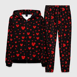 Костюм мужской Красные сердца цвета 3D-черный — фото 1