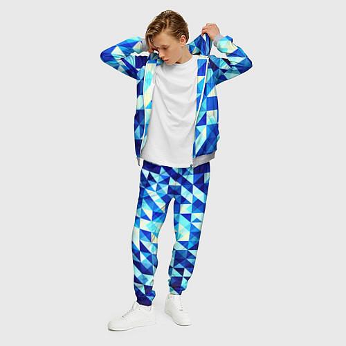 Мужской костюм Синяя геометрия / 3D-Меланж – фото 3