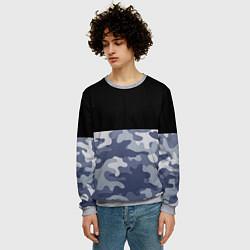 Свитшот мужской Камуфляж: черный/голубой цвета 3D-меланж — фото 2