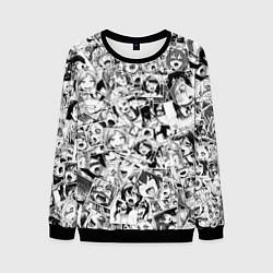 Свитшот мужской Ahegao: Black & White цвета 3D-черный — фото 1