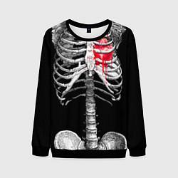 Свитшот мужской Скелет с сердцем цвета 3D-черный — фото 1