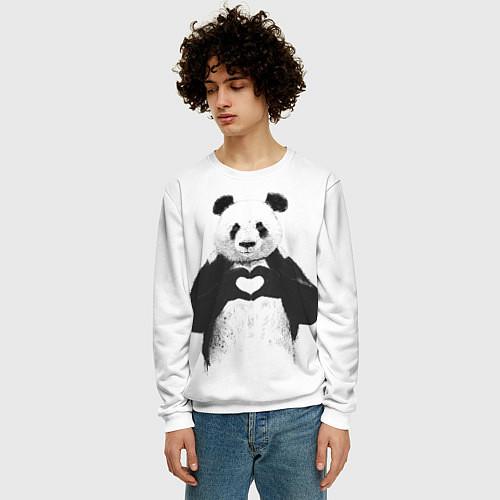 Мужской свитшот Panda Love / 3D-Белый – фото 3