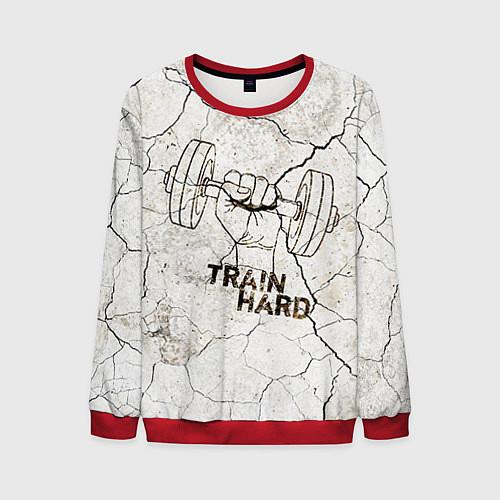 Мужской свитшот Train hard / 3D-Красный – фото 1
