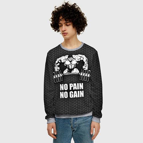 Мужской свитшот No pain, no gain / 3D-Меланж – фото 3