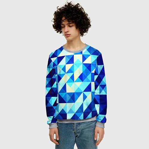 Мужской свитшот Синяя геометрия / 3D-Меланж – фото 3