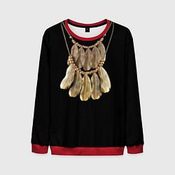 Свитшот мужской Золотые перья цвета 3D-красный — фото 1