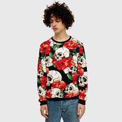Свитшот мужской Черепки и розы цвета 3D-черный — фото 2