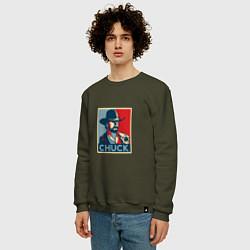 Свитшот хлопковый мужской Chuck Poster цвета хаки — фото 2
