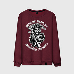 Свитшот хлопковый мужской Sons of Anarchy: Redwood Original цвета меланж-бордовый — фото 1