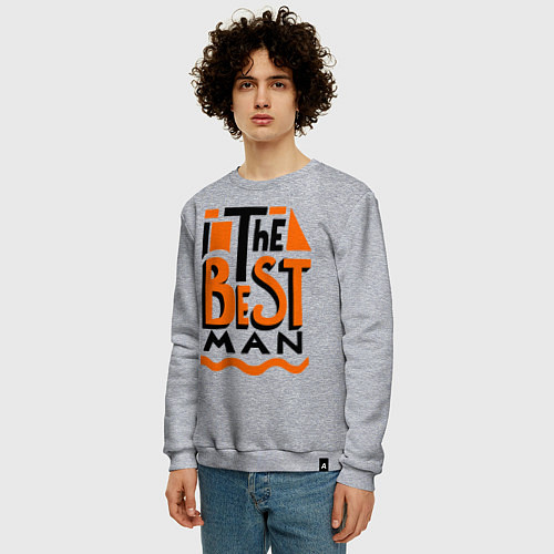 Мужской свитшот The best man / Меланж – фото 3