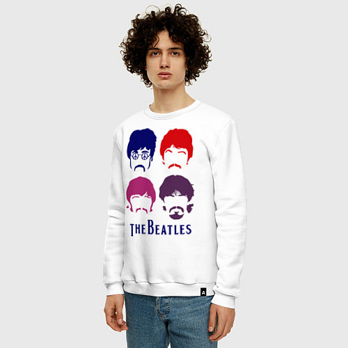 Мужской свитшот The Beatles faces / Белый – фото 3