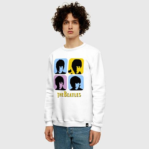 Мужской свитшот The Beatles: pop-art / Белый – фото 3