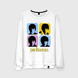 Свитшот хлопковый мужской The Beatles: pop-art цвета белый — фото 1