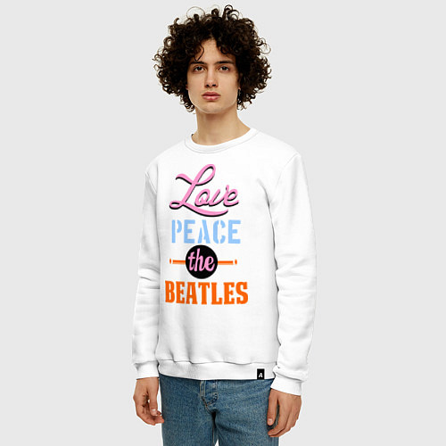 Мужской свитшот Love peace the Beatles / Белый – фото 3