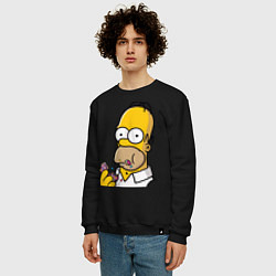 Свитшот хлопковый мужской Гомер с Пончиком цвета черный — фото 2