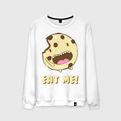 Свитшот хлопковый мужской Cake: Eat me! цвета белый — фото 1