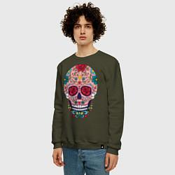 Свитшот хлопковый мужской Oldschool skull цвета хаки — фото 2