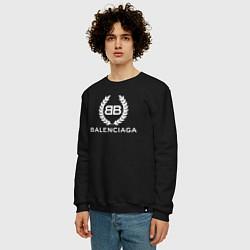 Свитшот хлопковый мужской Balenciaga Fashion цвета черный — фото 2