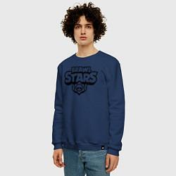 Свитшот хлопковый мужской BRAWL STARS цвета тёмно-синий — фото 2