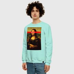 Свитшот хлопковый мужской Supreme Mona цвета мятный — фото 2