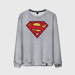 Свитшот хлопковый мужской Superman logo цвета меланж — фото 1