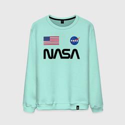Свитшот хлопковый мужской NASA НАСА цвета мятный — фото 1