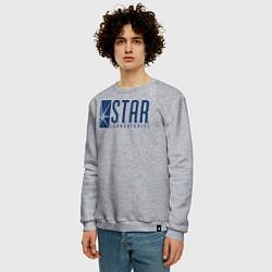 Свитшот хлопковый мужской S T A R Labs цвета меланж — фото 2