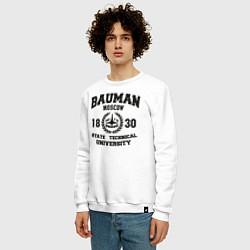 Свитшот хлопковый мужской BAUMAN University цвета белый — фото 2