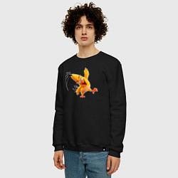 Свитшот хлопковый мужской Чак-птица цвета черный — фото 2