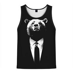 Майка-безрукавка мужская Медведь бизнесмен цвета 3D-черный — фото 1