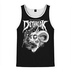 Майка-безрукавка мужская Dethklok: Goat Skull цвета 3D-белый — фото 1