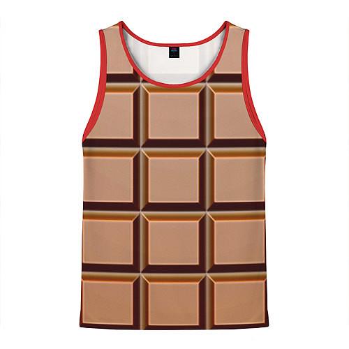Мужская майка без рукавов Шоколад / 3D-Красный – фото 1